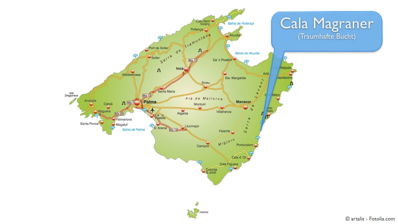 Übersichtskarte Mallorca - Cala Magraner